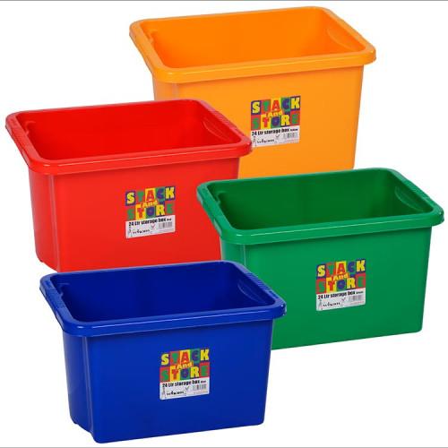 24 Litre Stackable storage Box | Colourful Plastic Boxes
