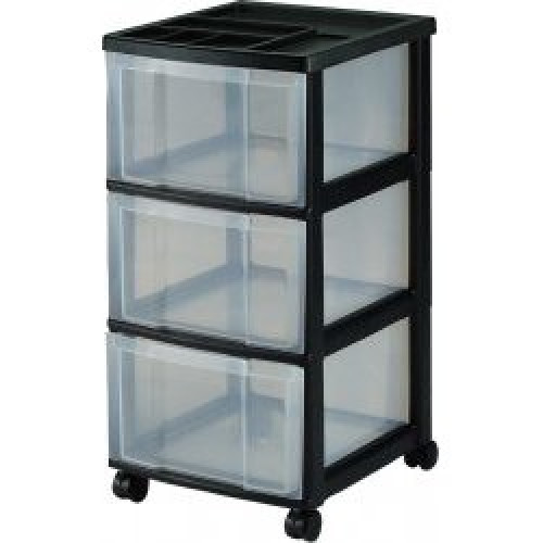3 plastic drawer black storage unit. Black Bedroom Furniture Sets. Home Design Ideas