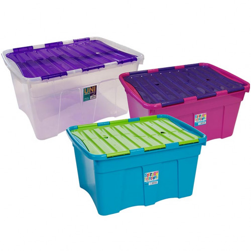 54 Litre Box with Crocodile Lid | Storage Box with Hinged Lid
