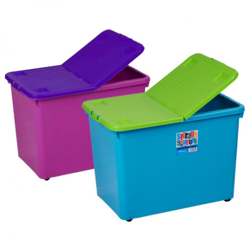 80 Litre Storage Boxes with Wheels | Plastic Box with Folding Lid