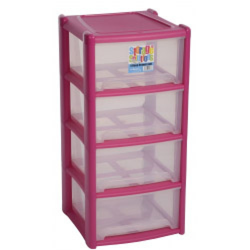 Pink Plastic 4 Draw Unit