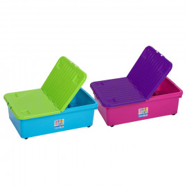 32 Litre Coloured Boxes with Wheels and Folding Lid