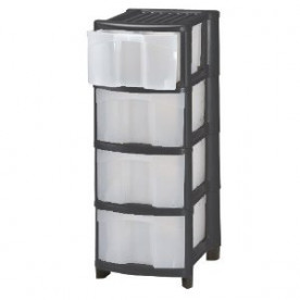 4 Plastic Drawer Black Storage Unit