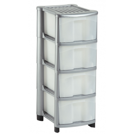 4 Plastic Drawer Silver Storage Unit