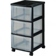 3 Drawer Black Plastic Storage Unit