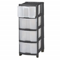 4 Drawer Black Plastic Storage Unit