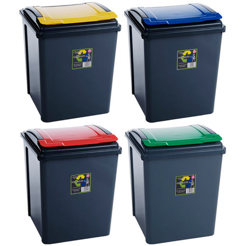 Black Plastic Recycling Bin | 50 Litre Bins with Coloured Lids