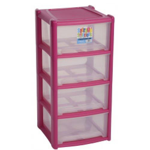 Pink Plastic 4 Draw Unit