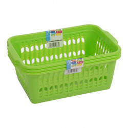Set of 3 Medium Green Handy Baskets