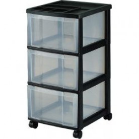 3 Plastic Drawer Black Storage Unit