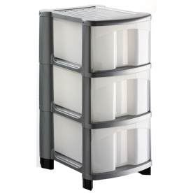 3 Plastic Drawer Silver Storage Unit