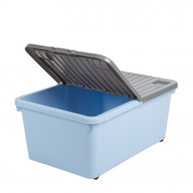 45 Litre Blue Box with Wheels and Grey Lid