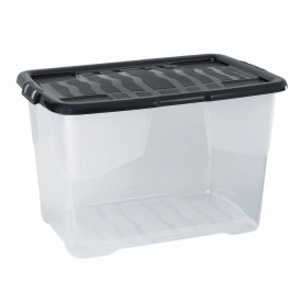 65 Litre Clear Box with Black Lid