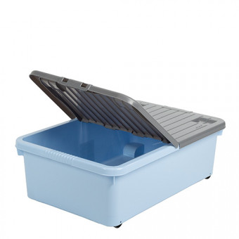 32 Litre Blue Box with Wheels and Folding Lid