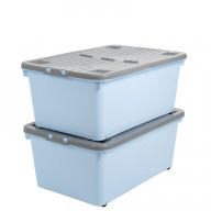 45 Litre Blue Stack-able Storage Box Grey Lid
